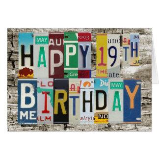 License Plates 19th Happy Birthday Card
