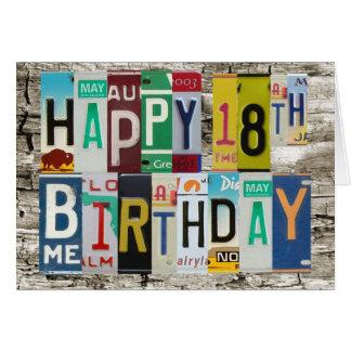License Plates Happy 18th Birthday Card