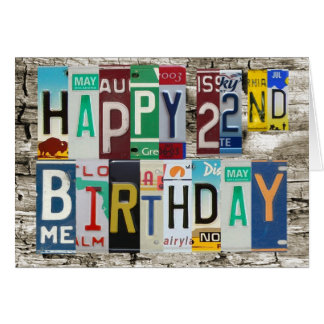 License Plates Happy 22nd Birthday Card