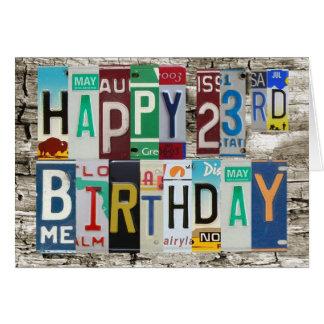 License Plates Happy 23rd Birthday Card