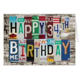 License Plates Happy 34th Birthday Card
