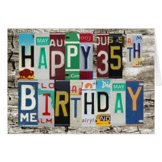 License Plates Happy 35th Birthday Card