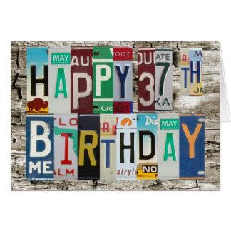 License Plates Happy 37th Birthday Card