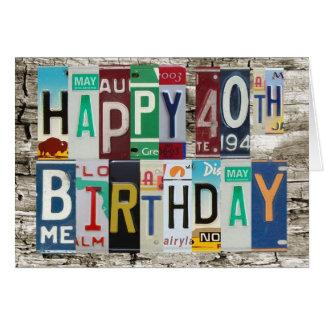 License Plates Happy 40th Birthday Card