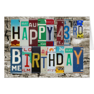 License Plates Happy 43rd Birthday Card