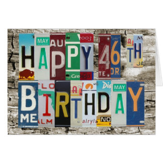 License Plates Happy 46th Birthday Card