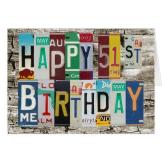License Plates Happy 51st Birthday Card