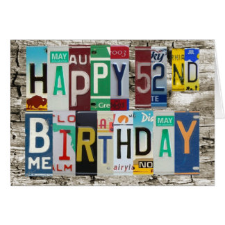 License Plates Happy 52nd Birthday Card
