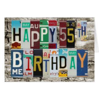 License Plates Happy 55th Birthday Card