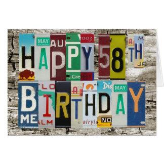 License Plates Happy 58th Birthday Card