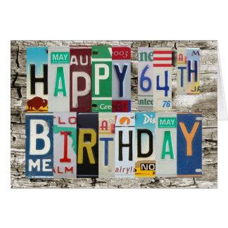 License Plates Happy 64th Birthday Card