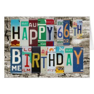 License Plates Happy 66th Birthday Card