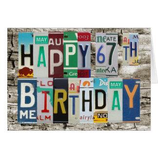 License Plates Happy 67th Birthday Card
