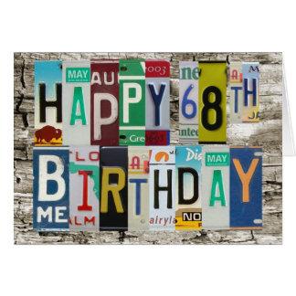 License Plates Happy 68th Birthday Card