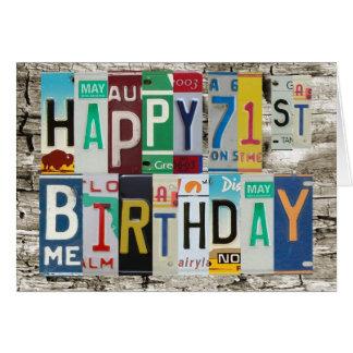 License Plates Happy 71st Birthday Card