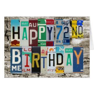 License Plates Happy 72nd Birthday Card