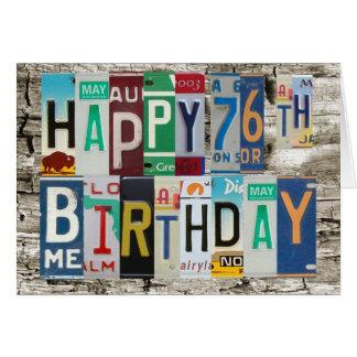 License Plates Happy 76th Birthday Card
