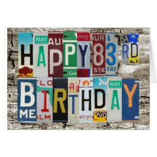 License Plates Happy 83rd Birthday Card