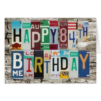 License Plates Happy 84th Birthday Card