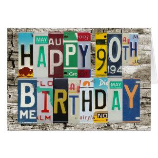 License Plates Happy 90th Birthday Card