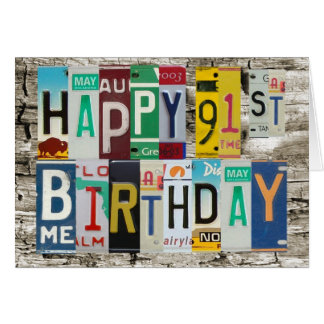 License Plates Happy 91st Birthday Card