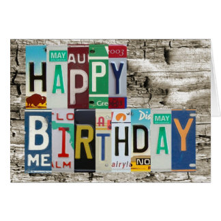License Plates Happy Birthday Card