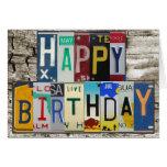 License Plates Happy Birthday Card