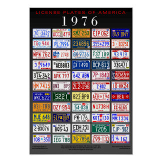 License Plates of America poster - 1976