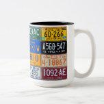 License Plates of USA - Colorful American History Mug