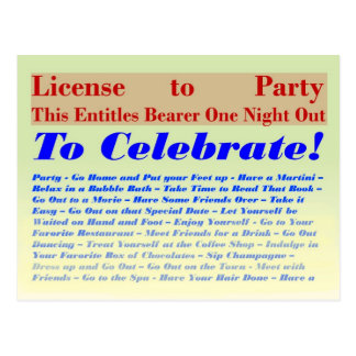 License to Party Postcard