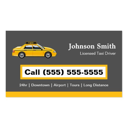 Licensed Cap Driver Chauffeur - Yellow Taxi Business Card Templates (back side)