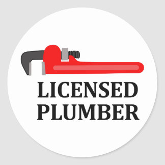 Licensed Plumber Classic Round Sticker
