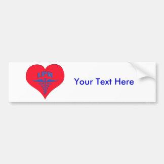 Licensed Practical Nurse LPN Caduceus Heart Bumper Sticker