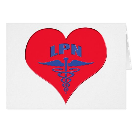 Licensed Practical Nurse LPN Caduceus Heart Card
