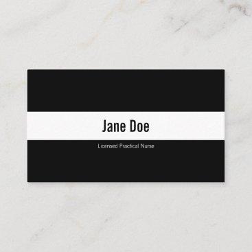 Licensed Practical Nurse White Icons Logo Black Business Card