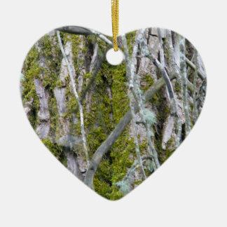 Lichen, Bark, and Branches Ceramic Ornament
