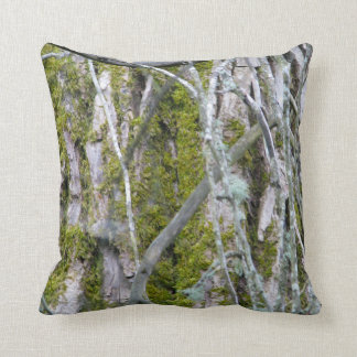 Lichen, Bark, and Branches Throw Pillow