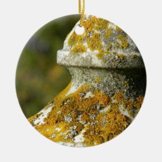 Lichen Covered Cemetery Obelisk Ceramic Ornament