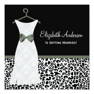 Lichen Green Gown Leopard PrintBridal Shower Announcements