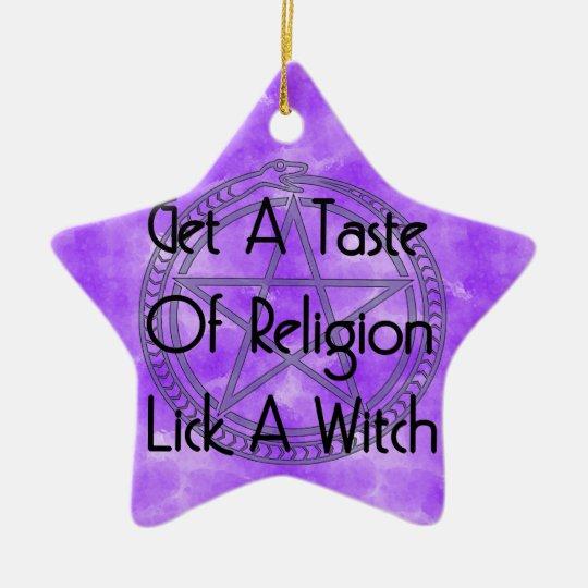 Lick A Witch Ceramic Ornament