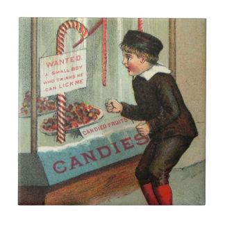 Lick Me Candy Cane Humor Vintage Christmas Joke Ceramic Tile