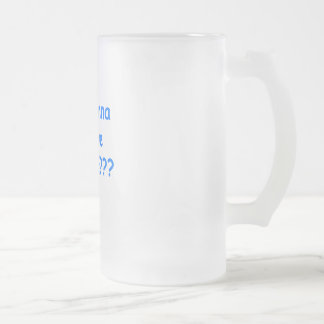lick me where blue frosted glass beer mug