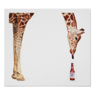 """Licker con acuarela de la jirafa de la botella de Póster"