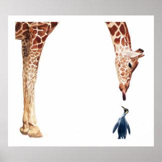"""""""Licker con acuarela de la jirafa del pingüino"""" Póster"""