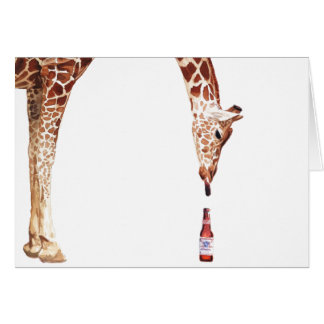 """Licker with Beer"" Giraffe Watercolor Card"