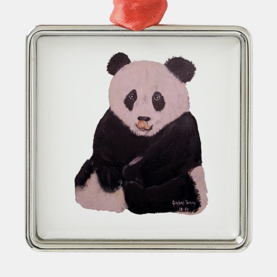 """Licking Panda"" Square Ornament"