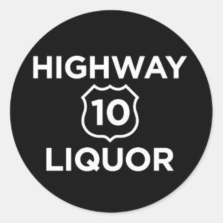 Licor de la carretera 10 pegatina redonda