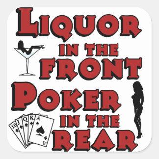 Licor en el póker delantero en el pegatina