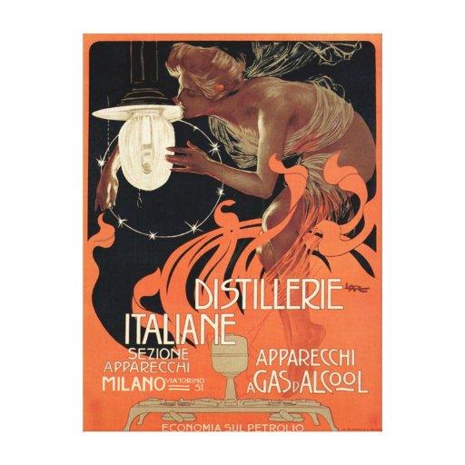 Licor italiano de Nouveau del arte del vintage de  Impresion En Lona