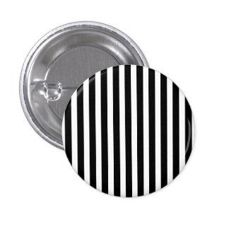Licorice Black and White Cabana Stripes 1 Inch Round Button
